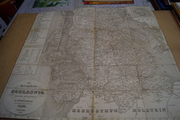 RARE,ancienne Carte De 1848,Schleswig A. Schreiber Kiel J.A.Cetti,Danemark,59 Cm. Sur 58 Cm.sur Toile,originale - Geographical Maps