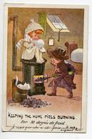 """ILLUSTRATEUR 0183 RIGHT  Couple Enfants   La Pelletée De Charbon Dans Poele """" Par 10 Degrés De Froid """" écrite   1918 - Right"""