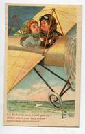 """ILLUSTRATEUR 0187 RIGHT  Baiser  Petit Aviateur à Sa Passagere """" Les Boches Ne Nous Voient Pas   Dis ? """"  1919 écrite - Right"""
