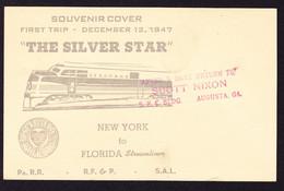 1947 1c GZ Karte. Souvenir Karte: First Trip The Silver Star. Eisenbahn. Gestempelt HAM. & JACK. - 1941-60