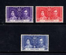 GRENADA   1937    Coronation    Set  Of  3    MH - Grenada (...-1974)
