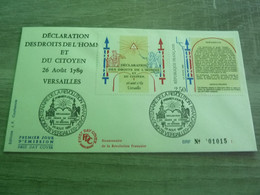 VERSAILLES - YVELYNES - DECLARATION DES DROITS DE L'HOMME ET DU CITOYEN - EDITIONS J.F. COURBEVOIE - ANNEE 1989 - - Oblitérés