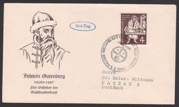 Johann Gutenberg 500 Jahre Biberl Erfinder Der Buchdruckerkunst SoSt. Mainz BRD 198  FDC - FDC: Buste