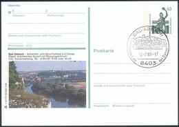 BRD Bildpostkarte (P139) 60 Pfg. Sehenswürdigkeiten Grün Serie Deutschland, Mit SST Bad Abbach 18.7.1989 - Storia Postale