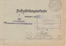 Postzustellungsurkunde Obl SAARBURG (WESTMARK) Du 24.6.42 Adressée à Metz - Alsace Lorraine