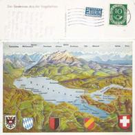 Bodensee - Panoramakarte Gegen Die Alpen             Ca. 1950 - SG St. Gall