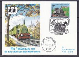 Trains - Autriche - Carte Postale De 1988 - Oblit Linz Donau - Exp Vers Graz - Cachet Aigen Im Mühlkreis - Trains