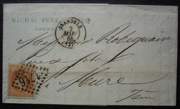 Grenoble 1868 Michal Père Et Fils Affranchissement 40c N° 23 Pour La Mure (isère) - 1849-1876: Periodo Clásico