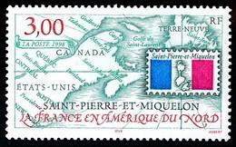 ST-PIERRE ET MIQUELON 1998 - Yv. 680 **   Faciale= 0,46 EUR - La France En Amérique Du Nord, Carte SPM  ..Réf.SPM12186 - Neufs
