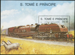 SAO TOME AND PRINCIPE 1989 Locomotives Trains Railways Transport Zebras Animals Fauna MNH - Trains