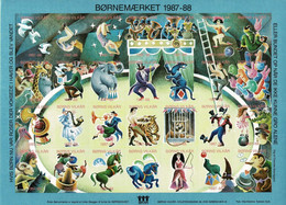Denmark; Poster Stamp Sheet.  Children's Welfare 1987-88, Circus.  Sheet With 28 Stamps; Imperforate, MNH(**). - Non Classificati