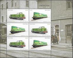 CROATIA, 2020, MNH, TRAINS, LOCOMOTIVES, SHEETLET OF 3 SETS - Trains