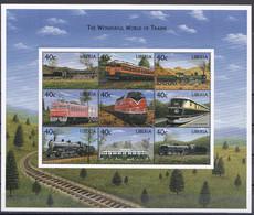 Md_ Liberia 1999 - Mi.Nr. 2466 - 2474 Kleinbogen - Postfrisch MNH - Eisenbahnen Railways Lokomotiven Locomotives - Trains