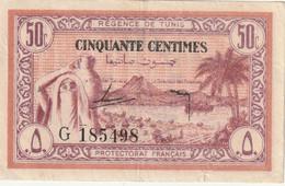 Tunisie Billet De 50 Centimes Avec Un Pli Central Et Un Autre En Bas A Droite - Tunisia
