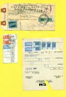 PACCHI POSTALI-LOTTO DI 10 DOCUMENTI CON FRANCOBOLLI PACCHI POSTALI (UN DOCUMENTO MISTO CON PACCHI CONCESSIONE) - Postal Parcels