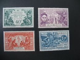 Gabon N° 121 à 124  Exposition Coloniale 1931    Série Complète    Neuf * - Unused Stamps