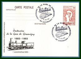 Entier Cp Repiqué GIROMAGNY 1983 BT Bureau Temporaire Centenaire Gare TB Train  France - Trains