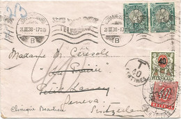 HELVETIA SUISSE 40C ROUGE ANNULE + 40C VERT GENEVE 1938 LETTRE COVER SOUTH AFRICA 1/2DX2 JOHANNESBURG - Strafportzegels