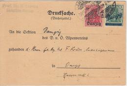 Danzig - 5+10 Pfg. Germania/Überdruck Bücherzettel Ortskarte D.-Langfuhr 1920 - Danzig