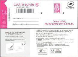 France Autoadhésif N° 1656 A Sur LS_6 ** Marianne L'Engagée - TVP Suivi Complet, Rose Carminé - Luchtpost