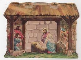 NOEL - CRECHE CARTON - SE PLIE, SE DÉPLIE ET TIENT DEBOUT; PROFONDEUR 2.5 CM - 12 X 16 - JESUS, MARIE, JOSEPH DÉCALÉS - Santa Claus