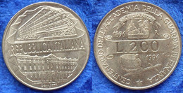 "ITALY - 200 Lire 1996 R ""Centennial - Customs Service Academy"" KM# 184 - Edelweiss Coins - Unclassified"