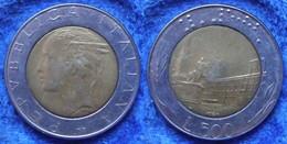 ITALY - 500 Lire 1988 R Piazza Del Quirinale KM# 111 Bi-metallic Edelweiss Coins - Unclassified
