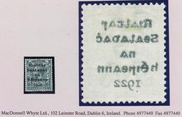 "Ireland 1922 Dollard Rialtas Black Ovpt 4d Grey-green Var ""Offset On Reverse"" Fresh Mint Hinged - Ongebruikt"