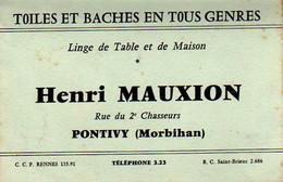 S49-002 TOILES ET BACHES EN TOUS GENRES - Linge De Table Et De Maison - Henri MAUXION - PONTIVY - Tarjetas De Visita
