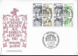 1980 Allem. Fed. Deutschland  Mi H Blatt 27 II Letterset Floreszierend  FDC Burgen Und Schlösser - FDC: Sobres