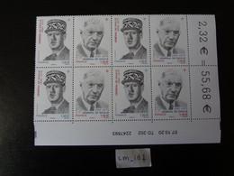 """2020 FRANCE 1 BLOC DATÉ 07.10.20 TD 202  1,16 """" GÉNÉRAL DE GAULLE -  CHARLES DE GAULLE 1890 - 1970 """" Neuf** 4 DIPTYQUES - 2010-...."""
