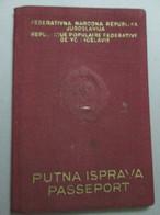 PASSPORT. PASSAPORTO, PASSEPORT, FNR YUGOSLAVIA 1960, VISA ITALY FOR OLYMPIC GAMES ROME, STAMPS, PHOTO - Documentos Históricos