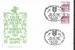 1980 Allem. Fed. Deutschland  Mi 028 DO / DU FDC Oben +unten  Geschnitten  Burgen Und Schlösser - FDC: Sobres