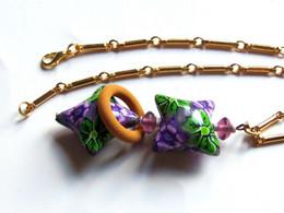 Collier Original, Perles Coussins Fait-main, Boho Chic, Bijou De Créateur, Violet Vert, Chaîne Vintage, Chaîne De Qualit - Necklaces/Chains