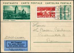 Switzerland 1933 ZÜRICH FLUGPLATZ / VIII Air Mail Stationery Card (Murten-Morat) Flugpost Aviation Entier Schweiz Suisse - Sonstige Dokumente