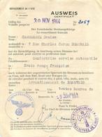 AUSWEIS CROIX ROUGE FRANCAISE CAMUZEAUX DENISE CONDUCTRICE JUIN 1944 BEAUVAIS OISE - 1939-45