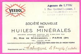 Carte Visite Représentant Huiles Minérales Automobiles VEEDOL Motor Oil Agence De Lyon - Auto's