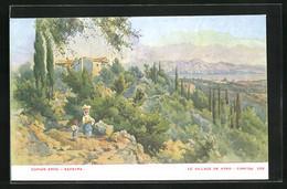 Künstler-AK Corfou, Le Village De Vyro - Grecia