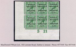 Ireland 1922 Dollard Rialtas Black Ovpt On ½d Green, Control S21 Imperf, Corner Block Of 6 Mint Unmounted - Ongebruikt