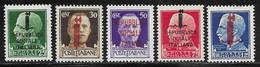 Italian Social Republic Scott # 1-5 Mint Hinged Italy Stamps Overprinted, 1944 - Nuovi