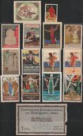 1929. (*) EXPOSICION INTERNACIONAL DE BARCELONA. Lote De 14 Viñetas Y Entrada - Ongebruikt