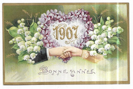 Fantaisie Gauffrée Poignée De Mains Muguet Violettes Bonne Année 1907 - Zonder Classificatie
