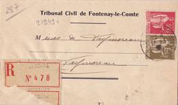 21949# PAIX LETTRE RECOMMANDE Obl FONTENAY LE COMTE 1935 FAYMOREAU - 1921-1960: Modern Period
