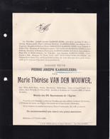 HOBOKEN VAN DEN WOUWER Marie-Thérèse Veuve KARSEELEERS Pierre 1818-1905 Famille VERHEYEN VERSCHUEREN NAGELS - Obituary Notices