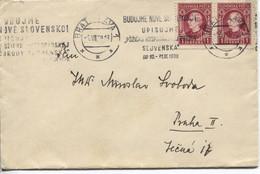 """Slowakei # 40(2x) Brief Werbestempel """"Neue Slowakei"""" Bratislava 1.7.39 > Prag - Storia Postale"""