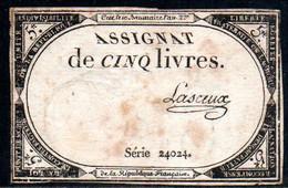 538-Assignat De 5 Livres De L'An 2 Lasceux - Assegnati