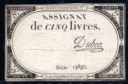 538-Assignat De 5 Livres De L'An 2 Duboc - Assegnati