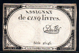 538-Assignat De 5 Livres De L'An 2 Du Flog - Assegnati