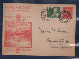 SVEZIA  1936 Cartolina Postale BREVKORT - KEBNEKAISE LAPPONIE 15ore+5ore X Berlino 27/7/36 - Postwaardestukken