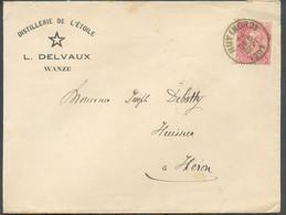 10 Centimes Rose FINE BARBE Obl. Sc HUY (NORD) Sur Lettre Ill. (DISTILLERIE De L'ETOILE L. DELVAUX) Du 28 Déc. 1901 Vers - 1893-1900 Thin Beard